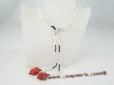 rpn237 Casual styles 5-6mm white side-drilled pearl and coral opera necklace