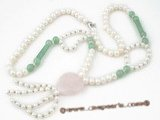 rpn245 Casual styles 7-8mm white potato pearl and jade opera Y style necklace