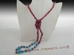 rpn252 7-8mm wine red nugget pearl rope necklace factory price wholesale