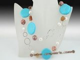 rpn258 Casual style coin turquoise with pearl rope costume necklace