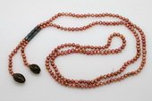 rpn262 Pretty 5-6mm wine red potato pearl Rope necklace with 2 Smokey Quartz Drops