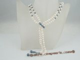 rpn265 Elegant Black and white pearl lariat style costume necklace