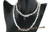 rpn267 Wholesale 7-8mm nature white freshwater nugget pearl Matinee Necklace