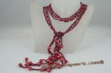 rpn268 Long triple strands wine red nugget seed pearl lariat scarf necklace