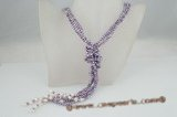 rpn269 Pearl lariat necklace purple nugget seed pearl and white pearl multi strand