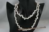 rpn281 White freshwater side drilled pearl rope necklace low price on sale