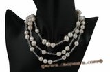 rpn283 Elegant Baroque potato Pearls& crystal rope costume necklace