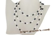rpn286 6-7mm white grey and black freshwater rice pearl rope neckace