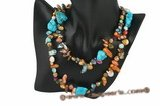 Rpn296 Mixcolor Blister Pearl and Turquoise Clearance Rope Necklace