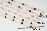 Rpn298 Hand Kontted Mix-color Freshwater Cultured Pearl Rope Necklace