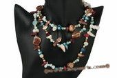 rpn305 Hand knotted freshwater pearl and jasper opera necklace