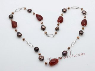 rpn308 Hand wired freshwater pearl and agate rope necklace