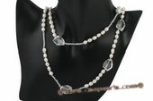 rpn310 Casual design freshwater rice pearl and crystal opera necklace