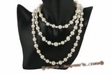 rpn311 Elegant Whorl Cultured Potato Pearls rope costume necklace