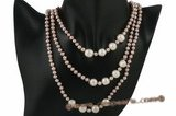 rpn312 Smart White Whorl Potato Pearl rope costume necklace