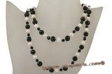 rpn315 Beautiful Black Faceted Agate and Potato Pearl Long Necklace