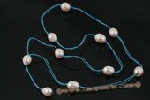 rpn316 Handcraft 12-14mm freshwater rice pearl opera cord necklace