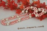 rpn317 Handmade Pink Freshwater pearls & White Whorl Pearls Necklace