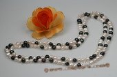 Rpn324 Hand knotted 8-9mm white and black freshwater nugget pearl rope necklace