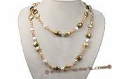 Rpn325 Hand knotted nugget and gradual coin pearl rope necklace