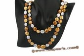 Rpn327 Colorful freshwater coin pearl sunshine rope necklace