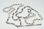 Rpn329 White and Black Cultured FreshWater Pearls Rope Costume Necklace
