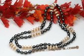 Rpn332 Classic White Coin Pearl & Black Rice pearl Rope Necklace
