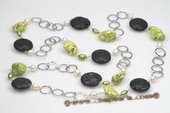 Rpn334 Designer Sterling Silver Vesuvianite & Turquoise Rope Necklace