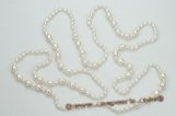 rpn337 White rice freshwater  pearl  rope pearl necklace 48 inch in length