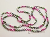 rpn338 colorful 48inch 6-7mm mix colour nugget pearl rope pearl necklace