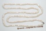 rpn339 White nugget freshwater pearl rope pearl necklace 48 inch in length