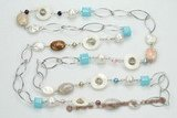 rpn340 mix freshwater pearl and gemstone beads long rope necklace