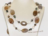 Rpn343 freshwater nugget pearl necklace with agate facet bead