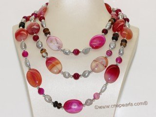 Rpn345 freshwater nugget pearl necklace with agate facet bead