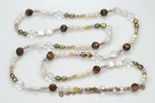 Rpn357 Casual Design Freshwater Pearl and Tiger&#39s eye Stone Rope Necklace