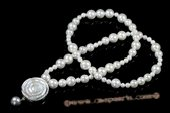 Rpn360 Designer Gradual White Round Shell Pearl Opera Necklace with Shell Pendant