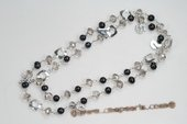 Rpn361 Hand wired Black Potato Pearl & Faceted crystal Rope Necklace