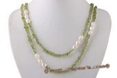 Rpn363 Elegant Green Peridot and Baroque Nugget Pearl Rope Necklace
