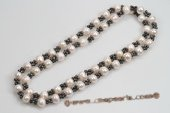 Rpn364 Amazing White and Black Culutred Pearl Opera Necklace