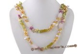Rpn365 Amazing Colorful Cultured Pearl and Gemstone Rope Necklace