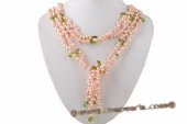 Rpn370 Latest Pink Cultured Dacing Pearl and Crystal Lariat Scarf Necklace