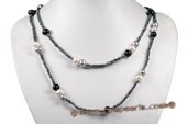 Rpn371 Amazing Black Seed Pearl and Potato pearl Party Opera Necklace