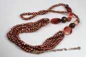 Rpn374 Fabulous Cultured Freshwater Pearl and Agate Rope Necklace