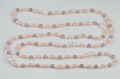 Rpn378 Good Quality Cultured Freshwater Potato Pearl Rope Necklace for Summer day