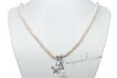 Rpn389 Designer Potato Seed Pearl Opera Necklace with Sterling Silver Flower Pendant