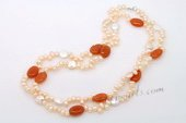 Rpn396 Peach Dancing Pearl and Red Agate Rope Necklace