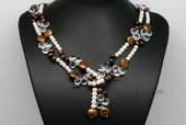 Rpn400 White and Bronze Pearl Rope Necklace with Drop Crystal Beads