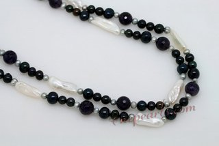 Rpn401 Multicolour Pearl and Amethyst Beads Long Necklace