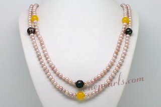 Rpn402 Fashion Multicolour Pearl and Yellow Jade Long Necklace