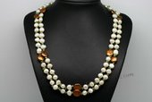 Rpn403 Multicolour Baroque Pearl and Peridot Long Rope Necklace